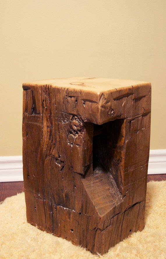 Cedar Hand Hewn Barn Beam Stool Seat Chair End Table Rustic Decor