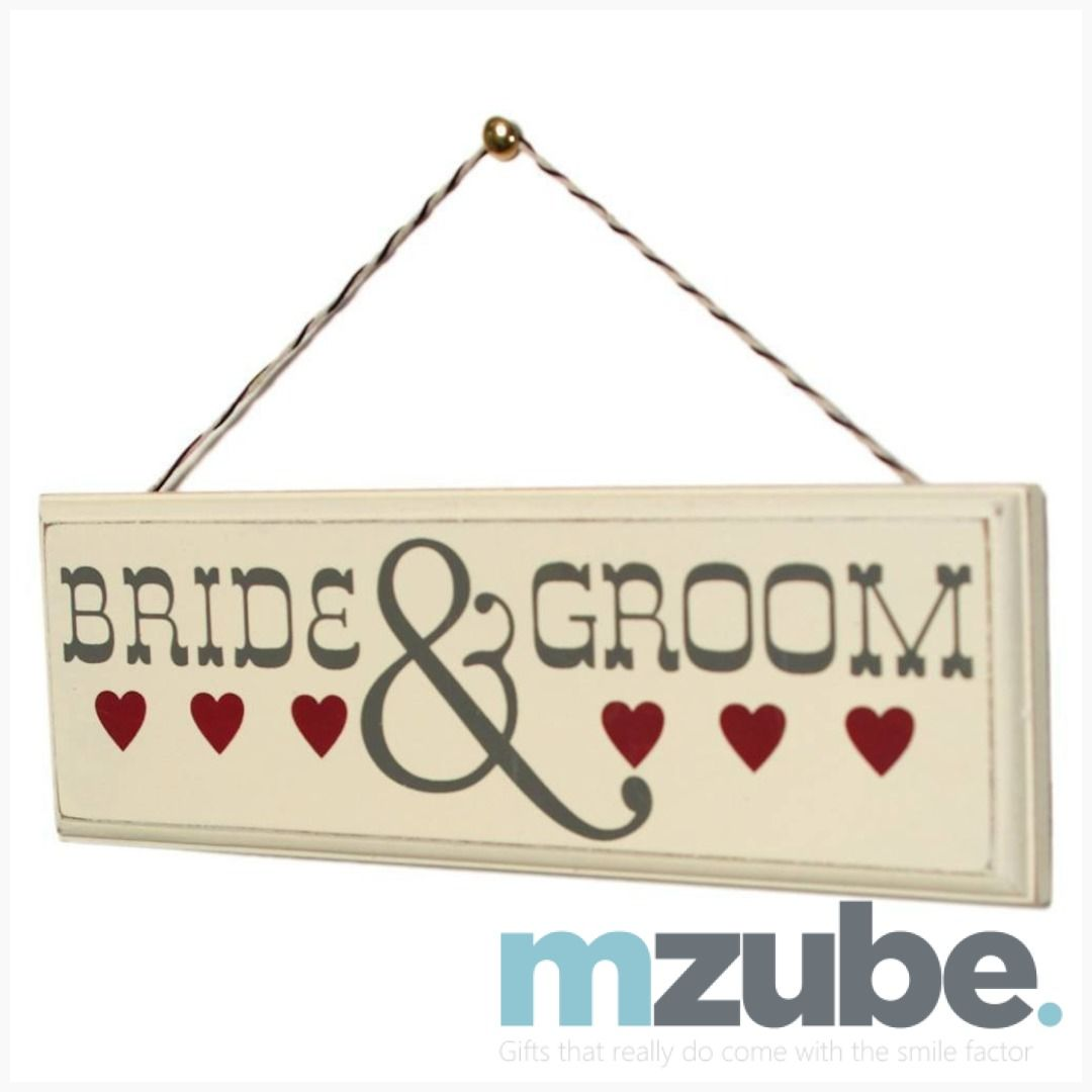 Romantic Wooden Sign Bride And Groom