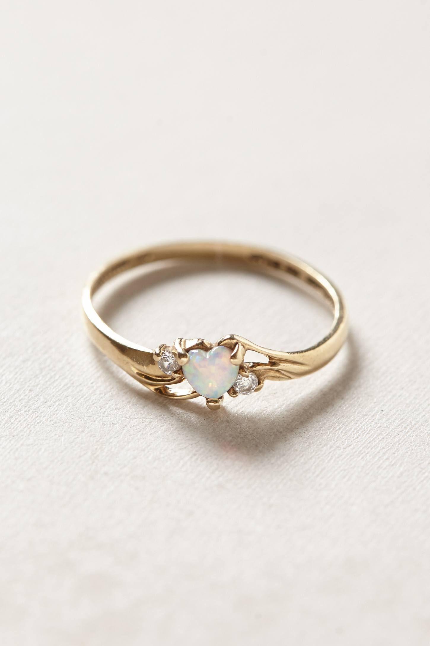 Vintage Opal Heart Ring   Jewelry, Vintage jewelry, Cute