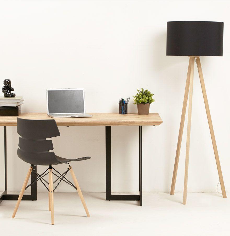 lampadaire tr pied 39 spring 39 avec abat jour noir et 3 pieds naturels salons. Black Bedroom Furniture Sets. Home Design Ideas