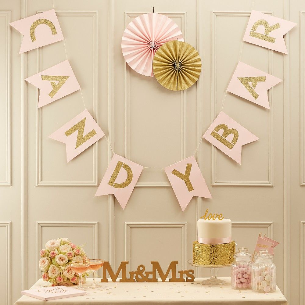 candy bar girlande gold rose hochzeit candy bar. Black Bedroom Furniture Sets. Home Design Ideas