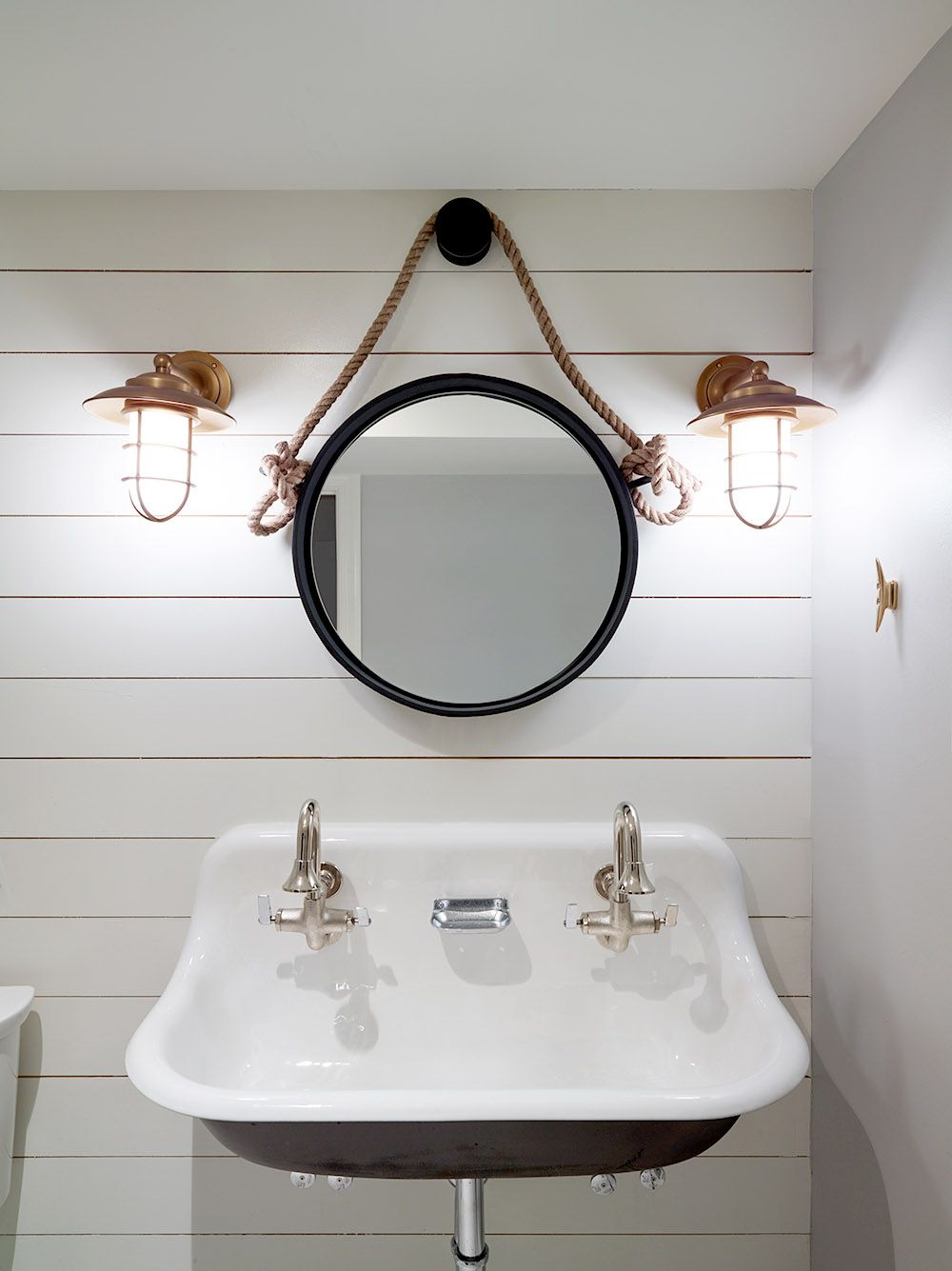 Nautical Changing room for Pool House with white ship-lap and fun No ...