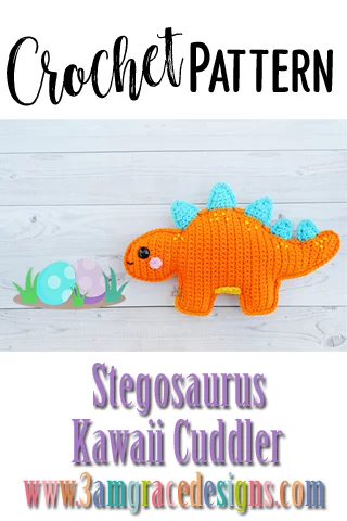 Stegosaurus Dinosaur Kawaii Cuddler™ - Crochet Pattern | 3amgracedesigns