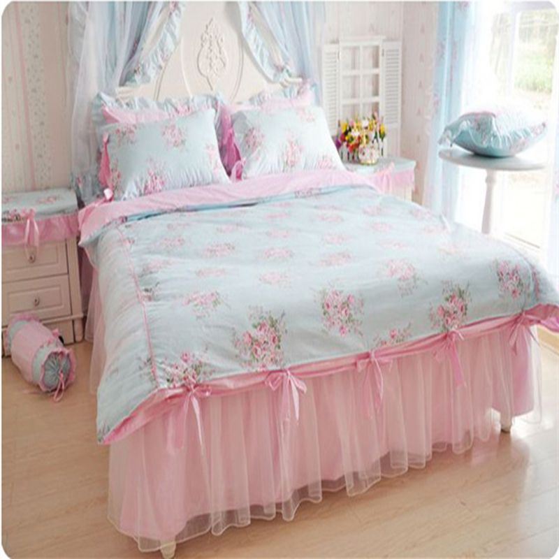 acheter l gant ensemble de literie imprimer fleur housse de couette volants. Black Bedroom Furniture Sets. Home Design Ideas