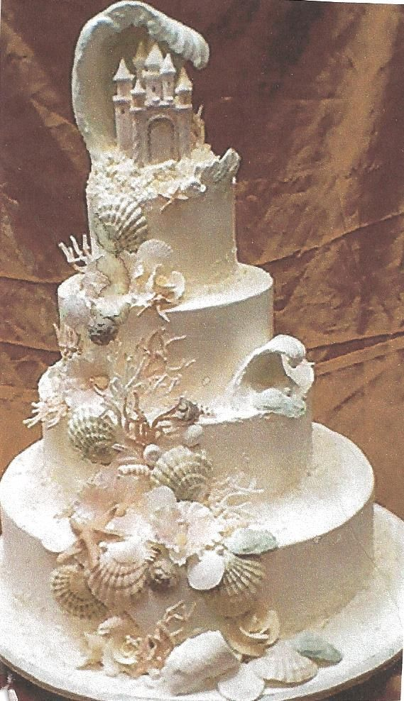 Cool Seashell Wedding Cake Sand Castle Cakes Beach Wedding Cake Beach Theme Wedding Cakes