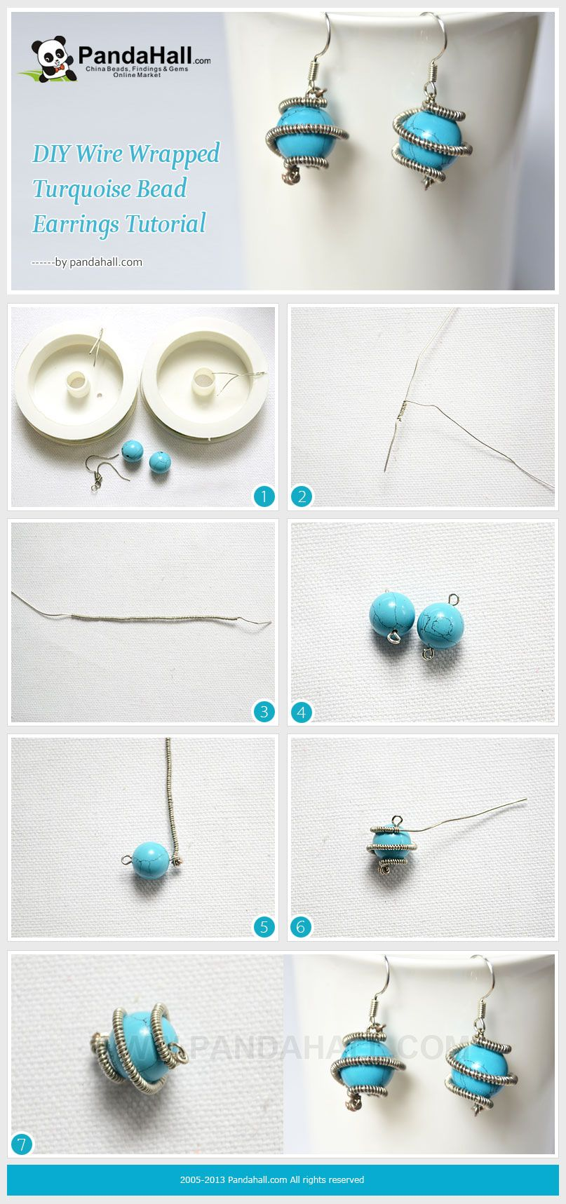 DIY Wire Wrapped Turquoise Bead Earrings Tutorial   Proyectos que ...