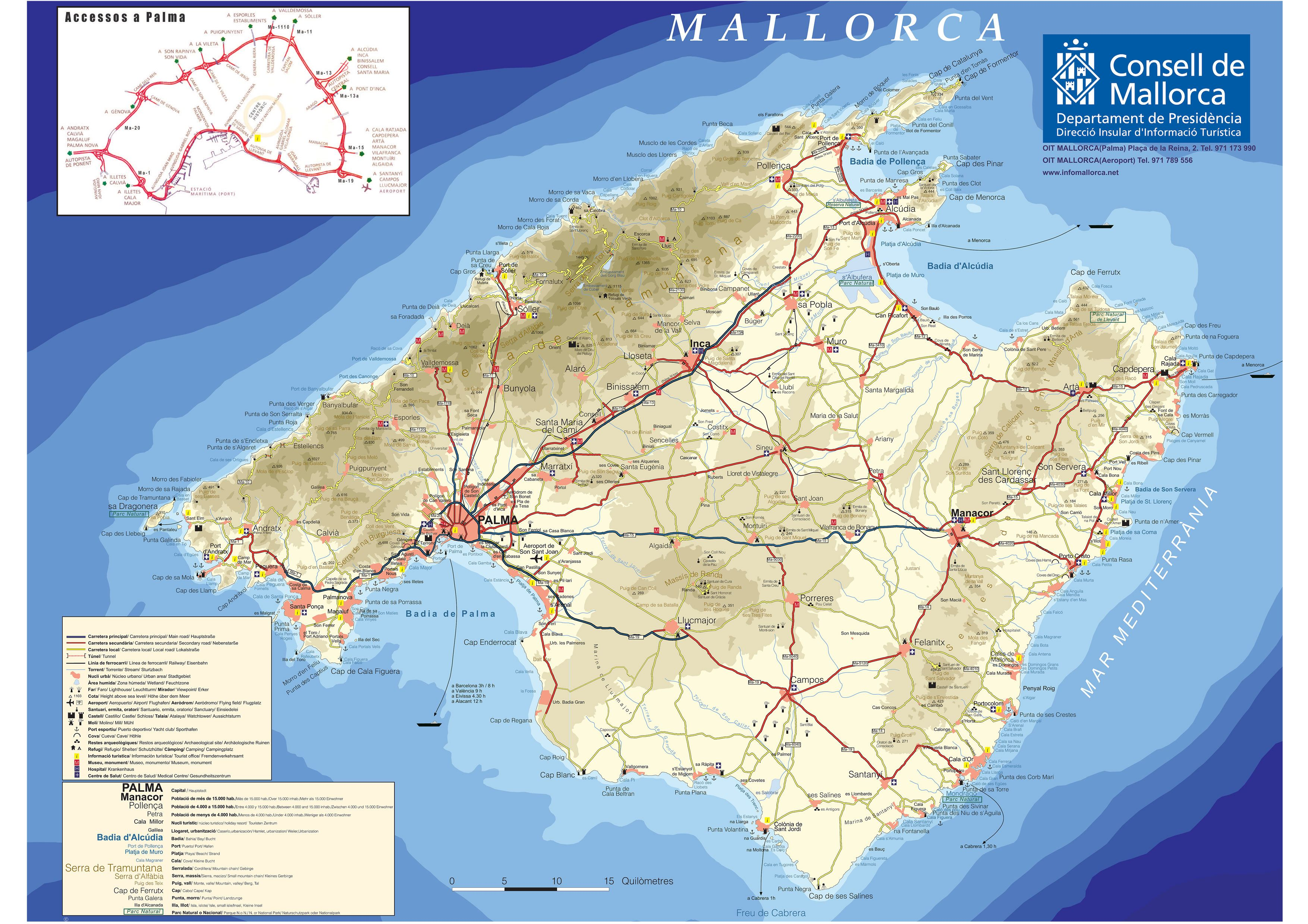 A very useful map of Mallorca Majorca for the tourist showing all