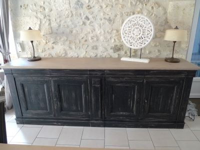 Buffet 4 portes Ameublement Pinterest Buffet, Salons and - Repeindre Une Cuisine En Chene Vernis