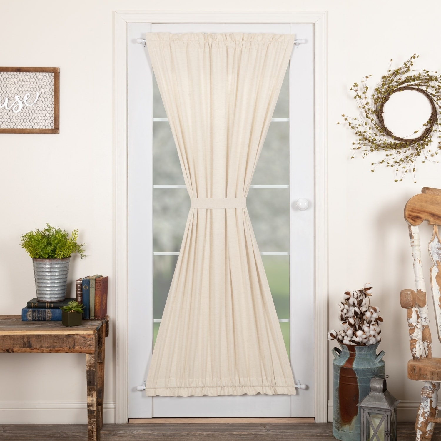 Farmhouse Curtains Vhc Simple Life Flax Door Panel Rod Pocket Cotton Linen Blend Solid Color Flax N A Dark Creme Vhc Brands N A Dark Creme 72 Inches In 2019 Door Panel