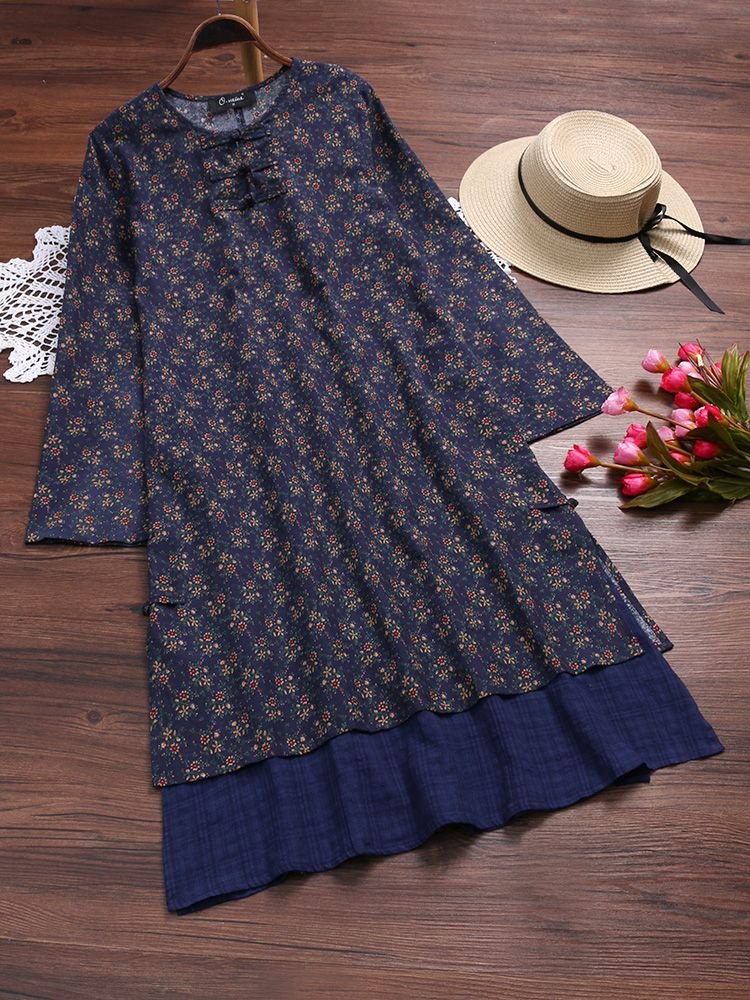 Fashion Vintage Stitching Floral Printed Fake Two Pieces Dress{ – NewChic Mobile
