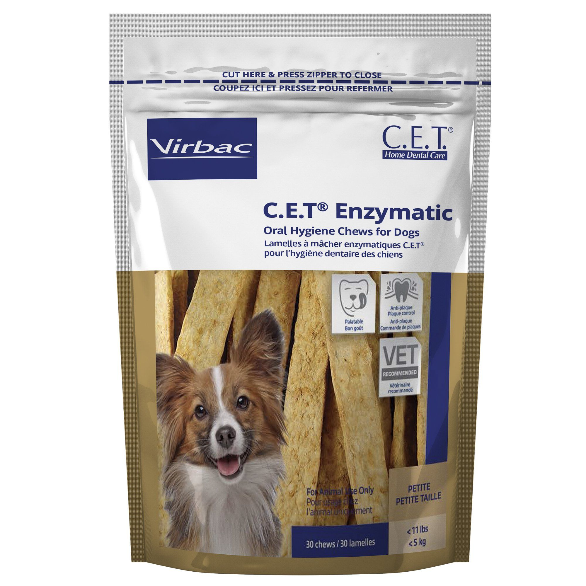 Virbac C E T Oral Hygiene Petite Rawhide Dog Chews 30 Count
