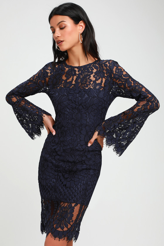 Enrapturing Elegance Navy Blue Lace Long Sleeve Midi Dress Lace Blue Dress Strapless Midi Dress Chic Lace Dress