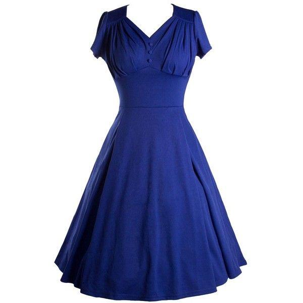 Audrey Hepburn Vintage Swing Dress V-neck Short Sleeve Cotton Buttons... (€31) ❤ liked on Polyvore featuring dresses, blue short sleeve dress, v neckline dress, vneck dress, tent dress and blue swing dress