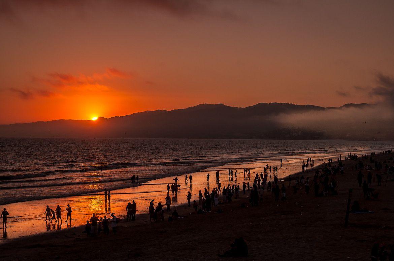 santa monica beach atardecer atardeceres amanecer