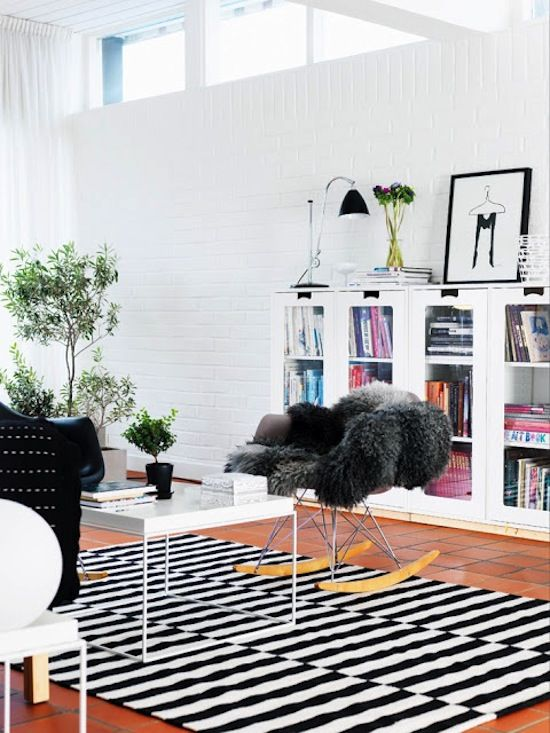 Swedish Living Room Ikea Stripe Rug