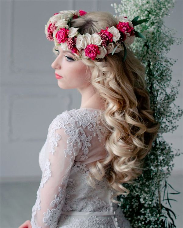 Blond Long Curly Wavy Wedding Hairstyle With Flower Crown