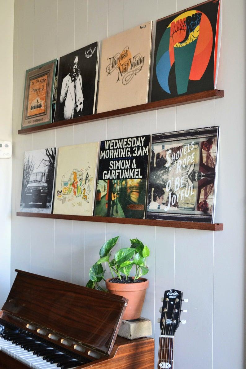 Quad Record Ledge Holds 4 Records Record Wall Decor Record Decor Record Room