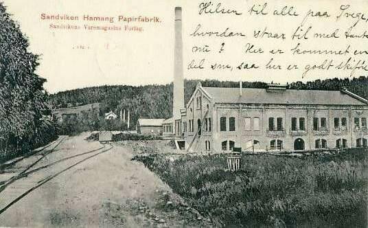 Akershus fylke Bærum kommune Sandvika -Sandviken Hamang Papirfabrik stemplet 1909 Utg Sandvika varemagasin/Nordisk Kortforlag 1908