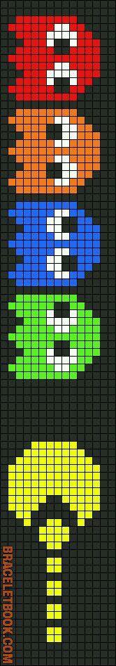14*73 (19cm largo) Primero pacman (tres puntos) fantasmas. 10a (centro) 70cm. 4a (orillas) 1,25cm Amar. 2,25 Roj-Nar-Azul 1,35 Ver. 1,40