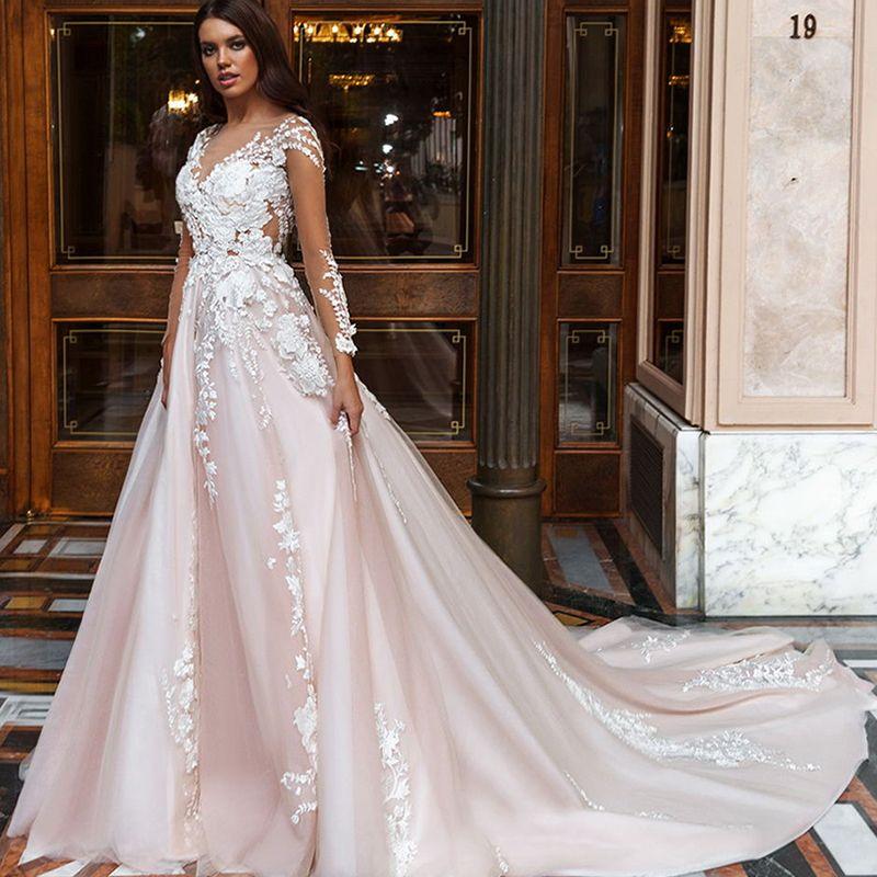 Boho Blush Pink Wedding Dresses 2017 Pretty 3d Flower Lace: Cheap Wedding Dress Full Figure, Buy Quality Wedding Dress