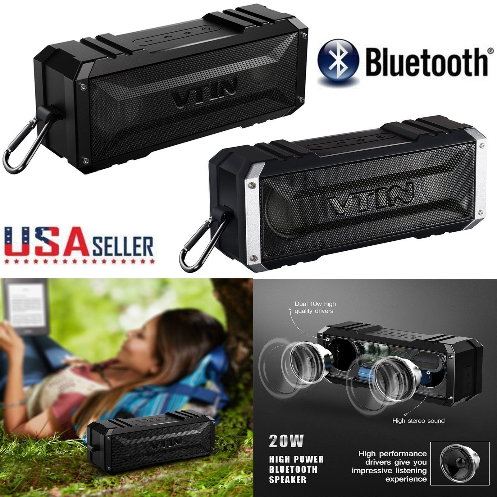 VTIN 20W Bluetooth 4.0 Wireless Speaker Stereo Punker AUX Portable Waterproof