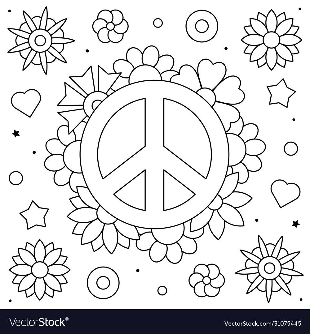 Peace Symbol Coloring Page Black And White Vector Illustration Download A Free Preview Or High Qualit Coloring Pages Mandala Coloring Pages Mandala Coloring