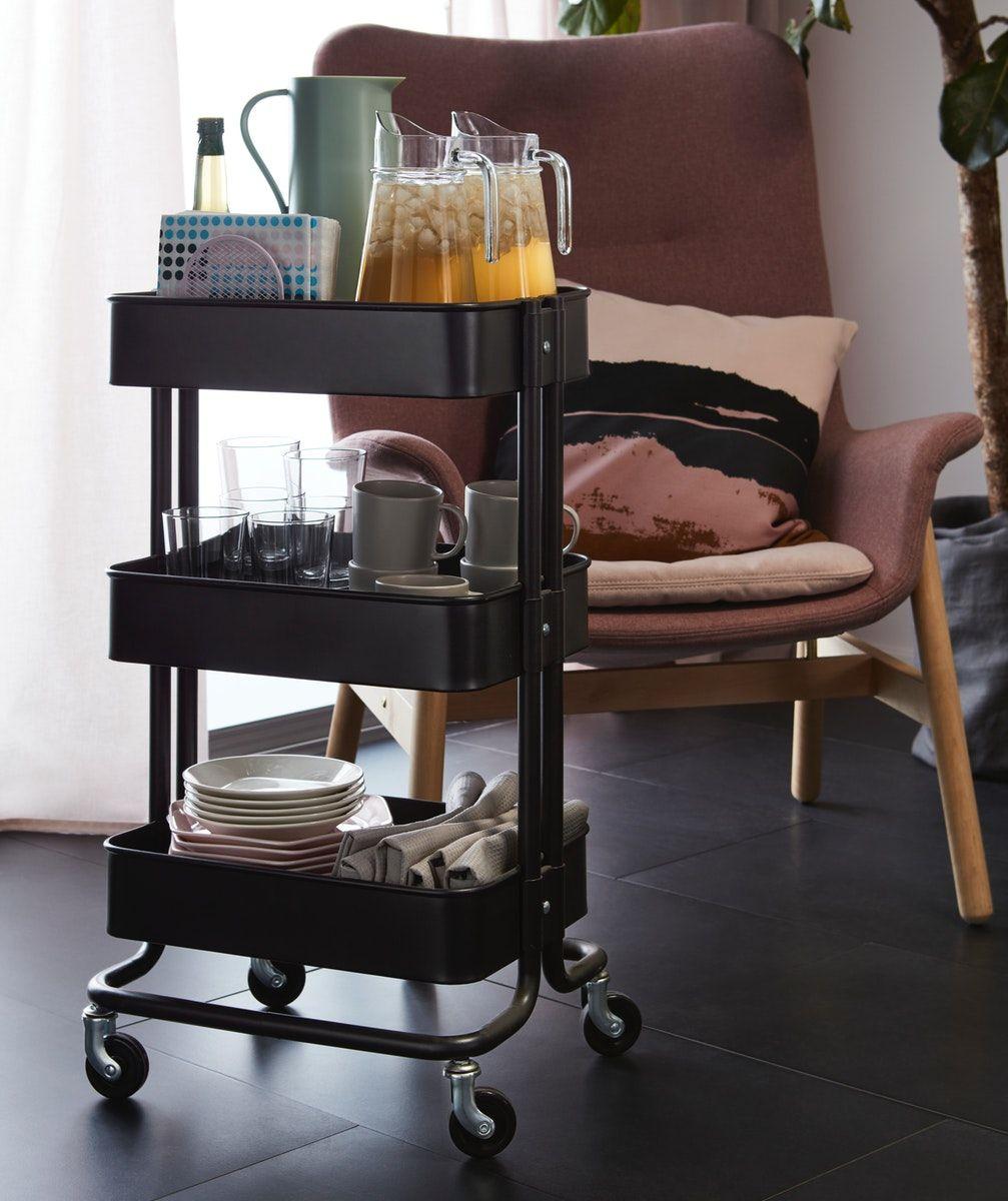 RÅSKOG Trolley black 35x45x78 cm in 2020 Ikea, Kitchen