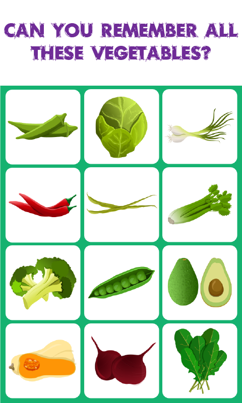 Vegetables Match Memory Game is a concentrationstyle