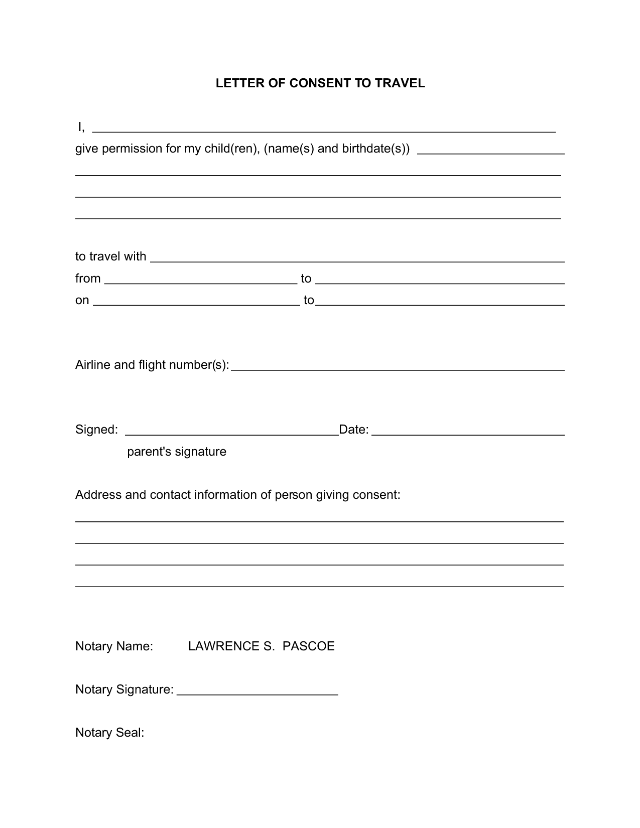 Consent Travel Sample Notarized Letter Template Authorization For Minor Templatezet