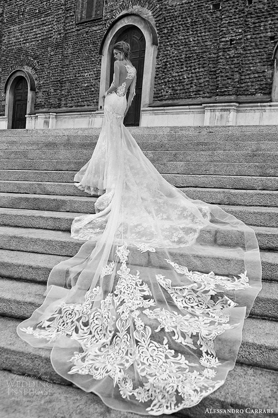 alessandro carrabs couture bridal 2016 illusion long sleeves sweetheart illusion bateau neck sheath mermaid lace wedding dress (002) bv overskirt crin long train