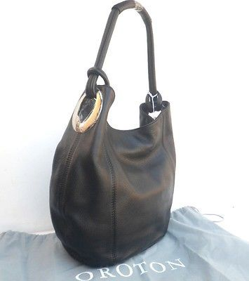 Oroton Bag Handbag Kiera B Hobo Shoulder Bag Leather Black RRP 495 New Tags  awww yiss 9e687d57b5