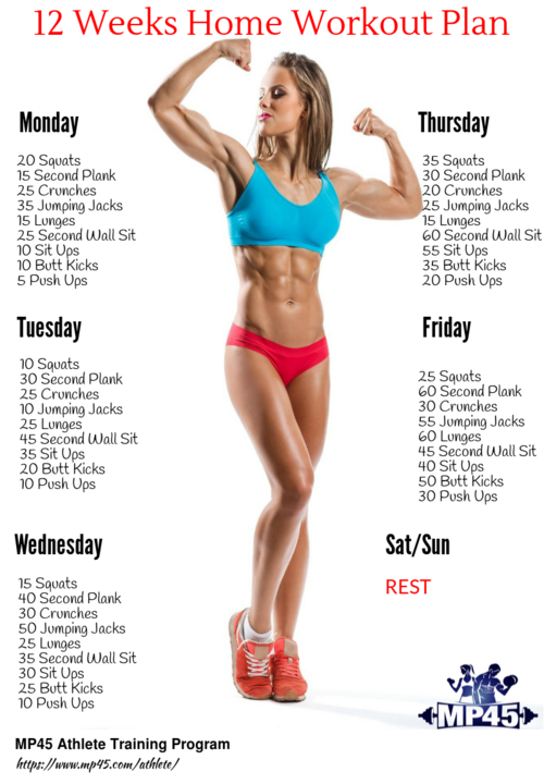 The Ultimate 12-Week Workout Plan | Workout plan for beginners, At home workout plan, At home