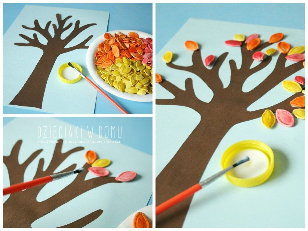 Jesienne Drzewko Z Pestek Dyni Dzieciaki W Domu Art For Kids Arts And Crafts For Kids Autumn Leaves Art