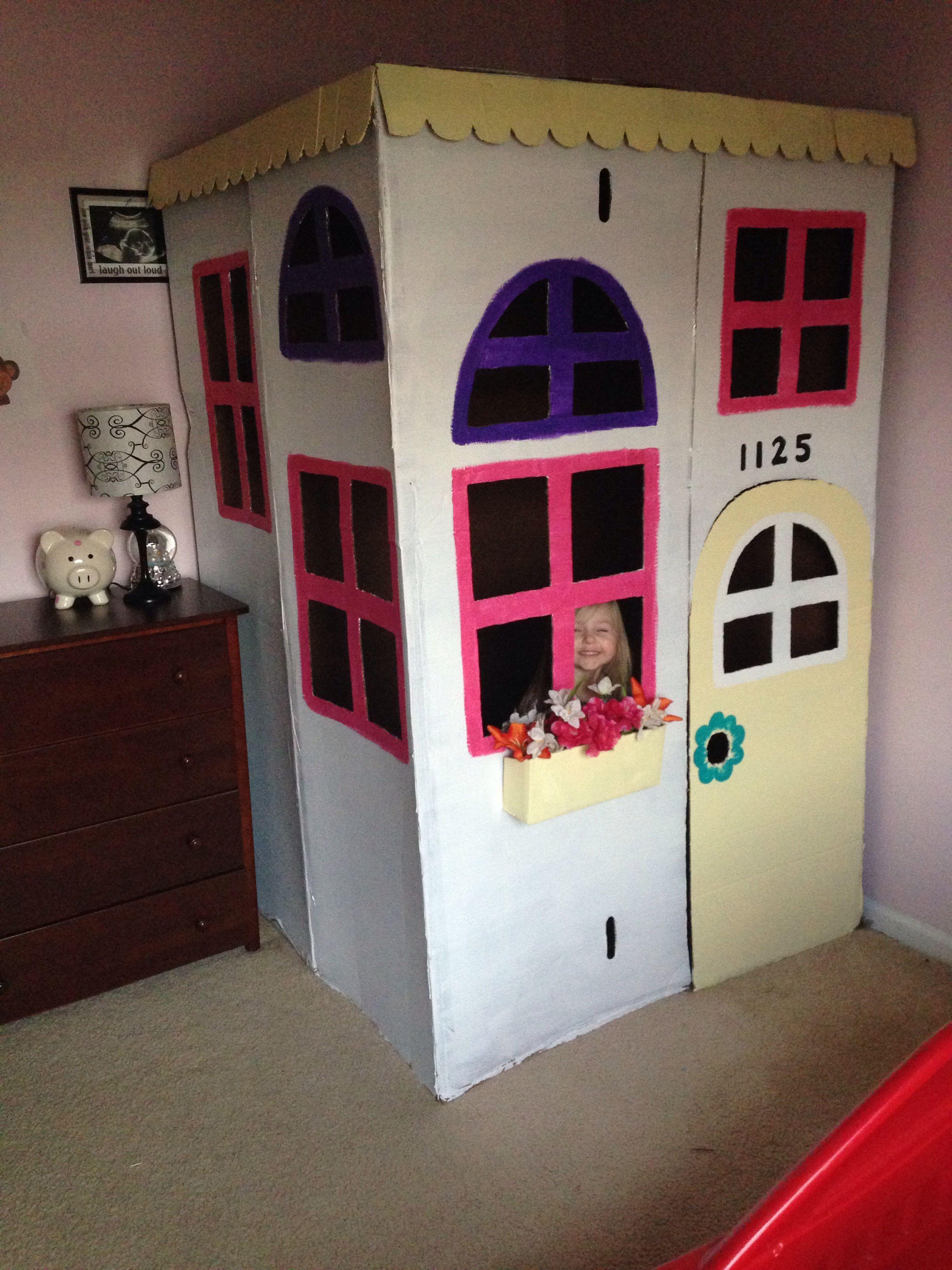 Cardboard box playhouse diy cardboard house cardboard