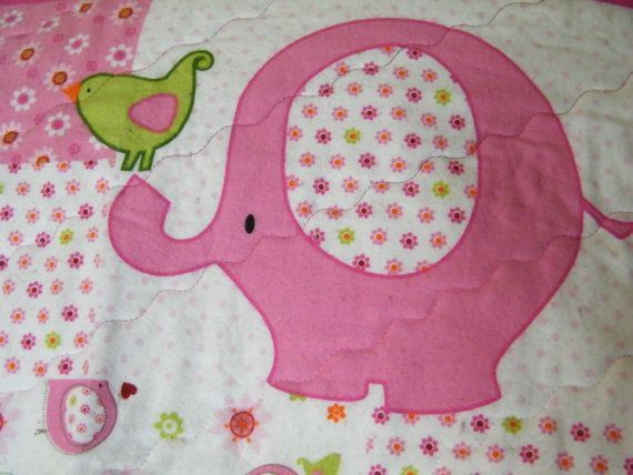 Pink Elephant Flannel Baby Quilt Baby Blanket Panel
