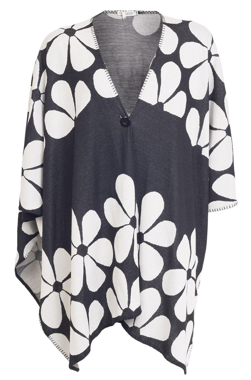 Super fede Sort poncho med store hvide blomster Gozzip Modetøj til Damer til hverdag og fest