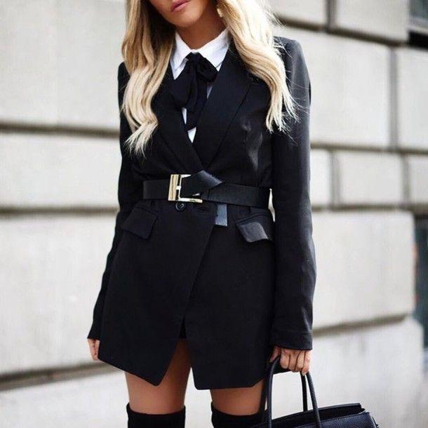 Coat: tumblr black blazer blazer belt black belt back to school school uniform