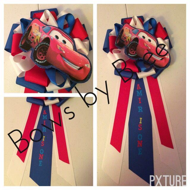 Cars theme birthday corsage.