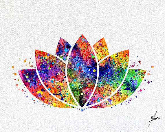 Lotus Flower Yoga Symbol Watercolor Illustrations Art Print Poster