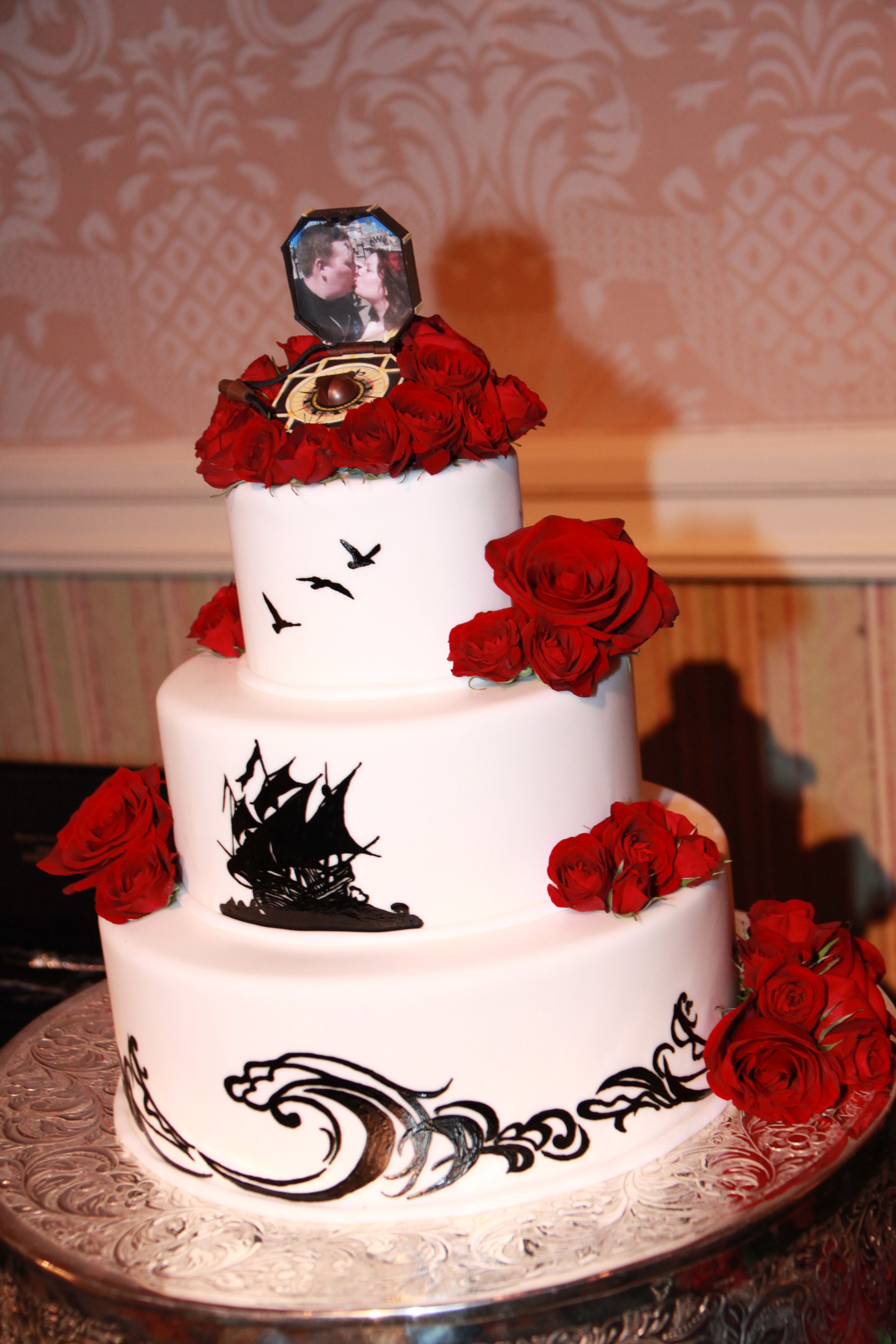 Pirate Ship Wedding Cake With Jack Sparrow Compass Cake