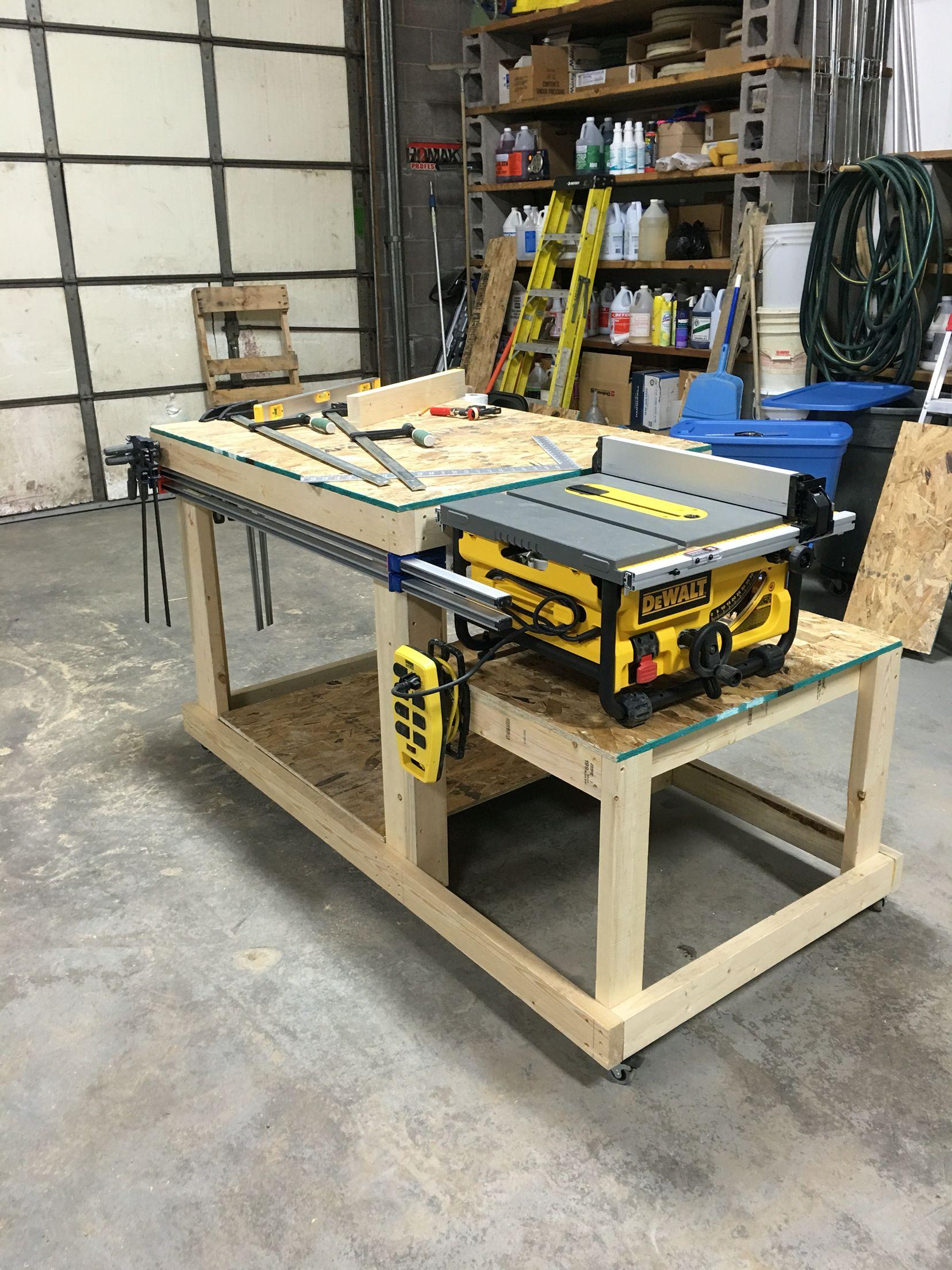 Workbench table saw bench wood shop pinterest bench for Table saw workbench woodworking plans