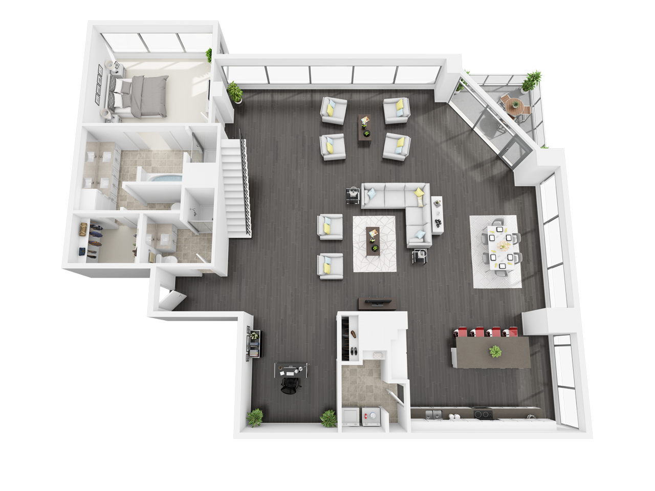 One And Two Bedroom Apts In Downtown Los Angeles Ca Floor Plans Watermarke Tower Downtown Apartment House Blueprints Apartment Layout