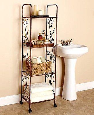 Rolling Cart 4 Tier Bronze Bathroom Bedroom Kitchen Storage Rack - badezimmer rollwagen