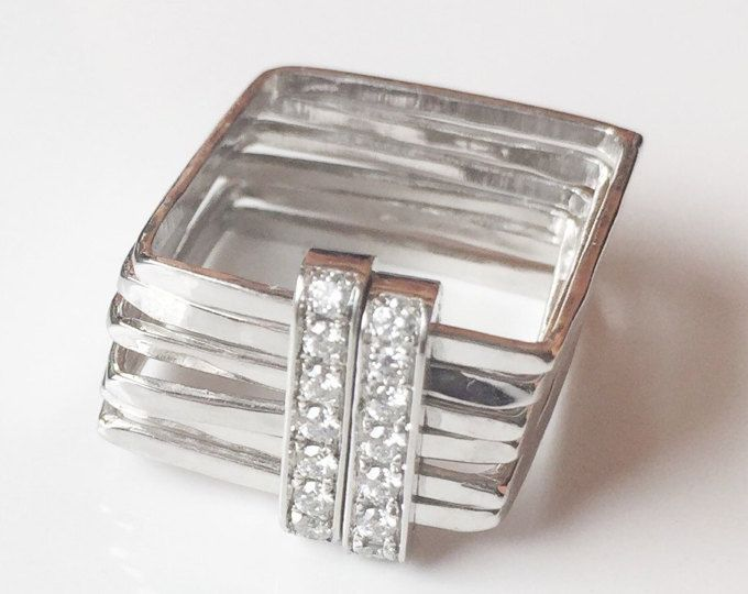 Wide SQUARE WEDDING RING set 18K White gold and diamonds pave