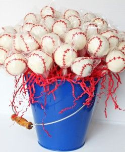 Baseball Cake Pops: red stitching made with Wilton red candy melts. Melted it in a bowl & poured it into a piping bag & piped onto the cake pop with a #1 Wilton tip. If it hardens in the piping bag, I take of the tip & microwave it for a few seconds.