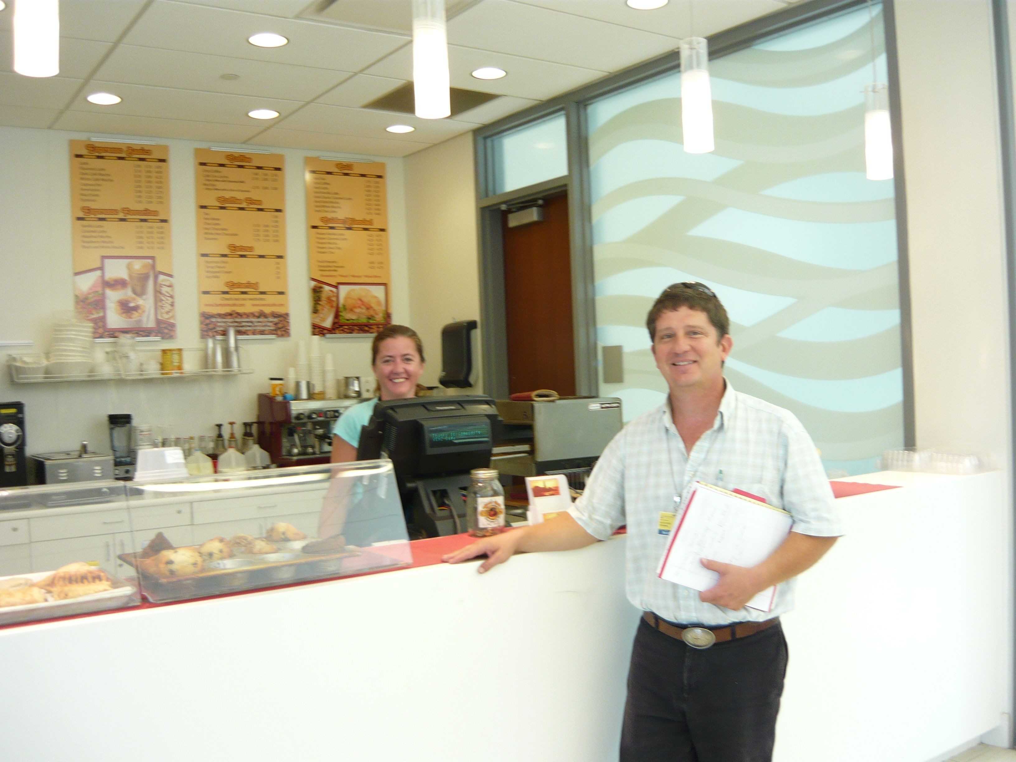 At daily grind client on the 1st floor of johns hopkins
