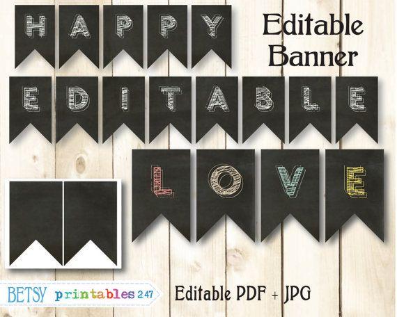 Chalkboard Banner Editable Pennants Happy Birthday Printable