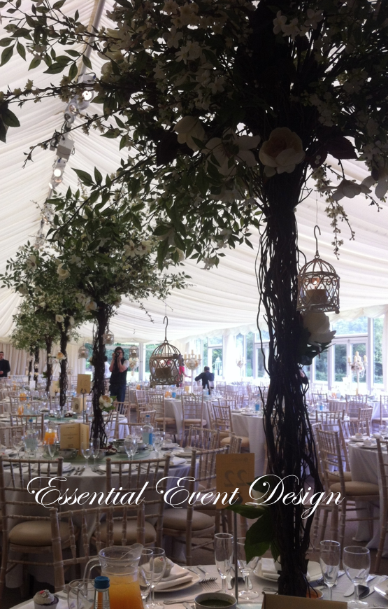 Flower tree wedding table centrepiece in marquee reception flower tree wedding table centrepiece in marquee junglespirit Images