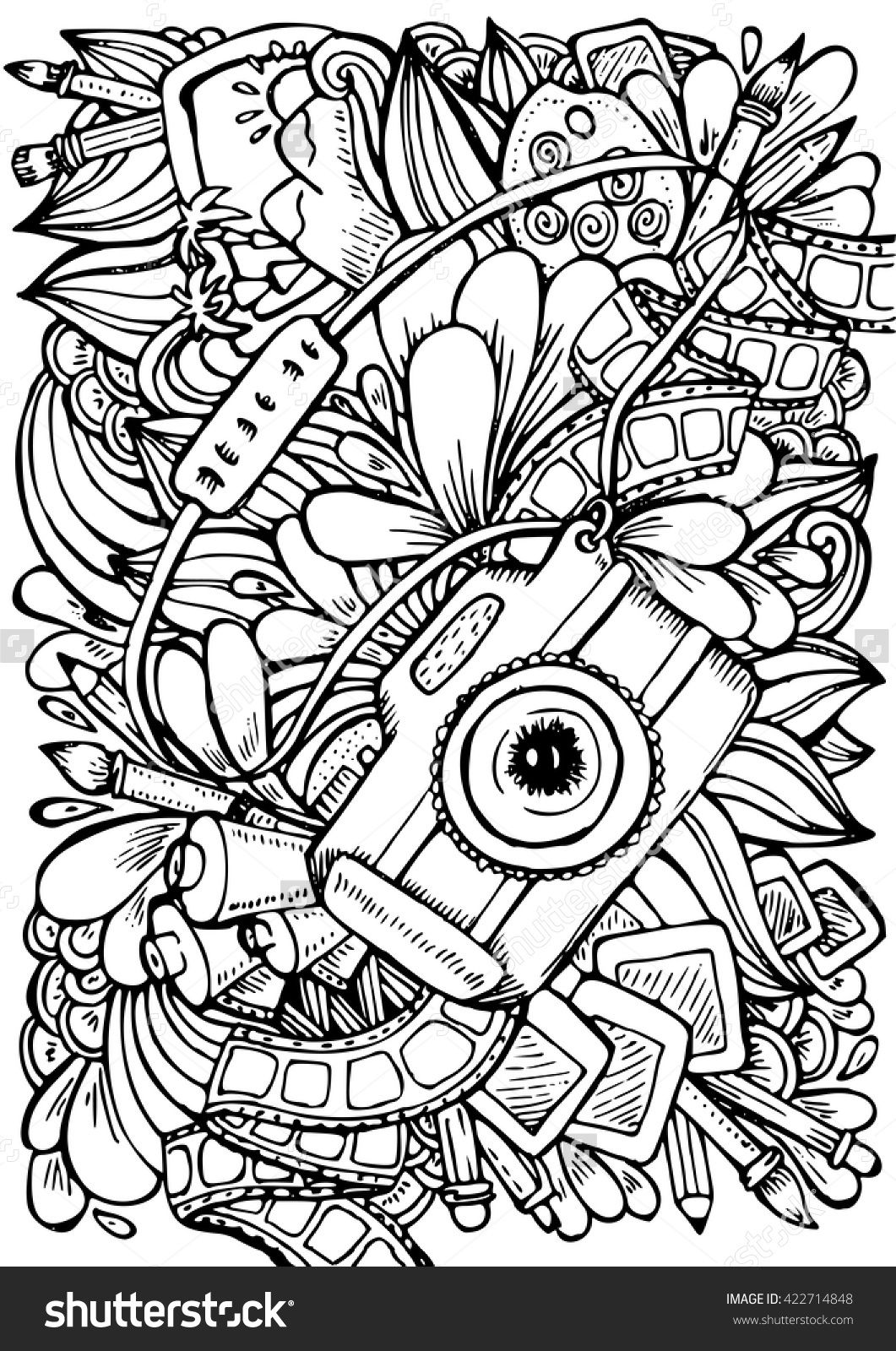 Anti Stress Coloring Book Page For Adult Photo Camera Brush Pencil Ink And Abstract Ornament Sketch By Trace