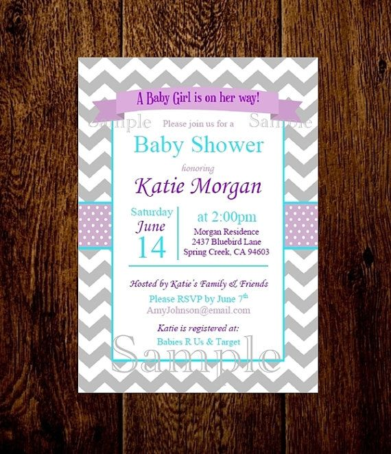 Girl Baby Shower Invitation Template Lavender Turquoise Chevron - baby shower invitation templates word